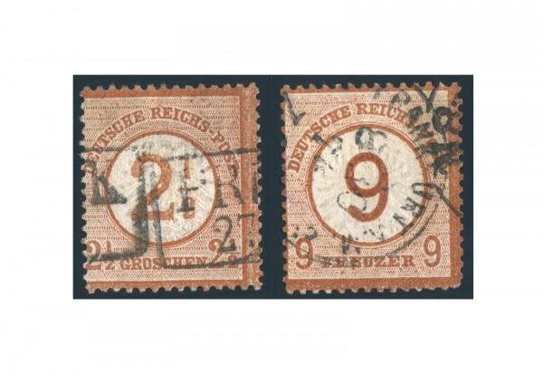 Briefmarken Deutsches Reich Kaiserreich Brustschilde 1874 Michel-Nr. 29/30 gestempelt
