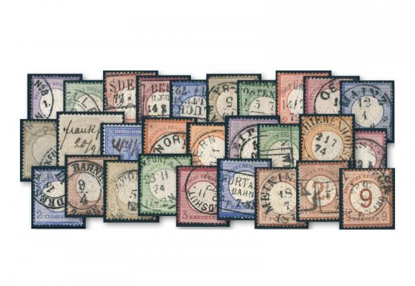 Briefmarken Deutsches Reich Brustschilde 1872 bis 1874 komplett ohne Michel-Nr. 12/13, 24+28 gestemp