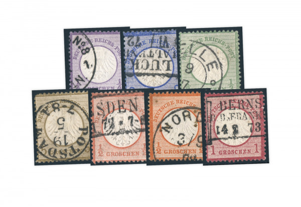 Briefmarken Deutsches Reich Kleiner Brustschild 1872 Michel-Nr. 1-6 + 14 gestempelt