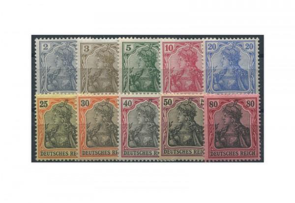 Briefmarken Deutsches Kaiserreich Germania 1902 Michel-Nr. 68/77 Falz