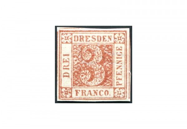 Briefmarke Deutsches Reich Stadtpostmarke Dresden 1900 Sachsen Dreier Falz