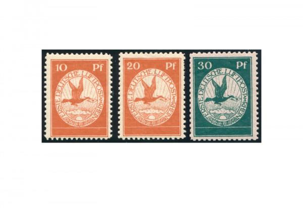 Briefmarken Deutsches Reich Flugpost 1912 Michel Nr. I-III mit Falz