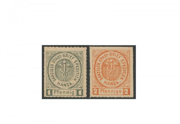 Briefmarken Deutsches Reich Danzig Privatpost 1890 Michel-Nr. 1-2 ungebraucht