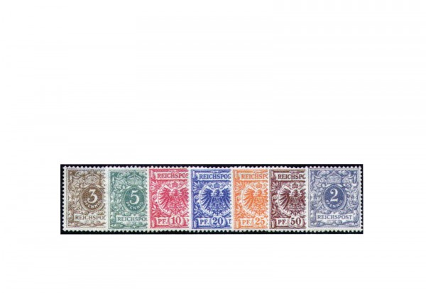Briefmarken Deutsches Kaiserreich Krone/Adler 1889/1890 Mi.Nr. 45/50 und 52 Falz