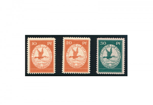 Briefmarken Deutsches Reich Flugpost 1912 Michel-Nr. I-III gestempelt