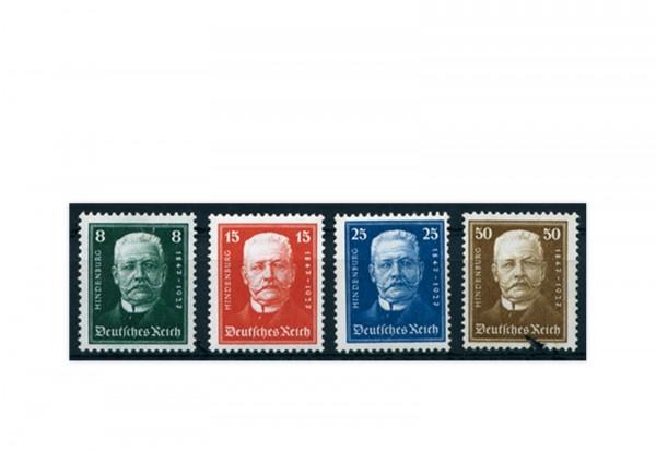 Briefmarken Deutsches Reich 80. Geburtstag Paul von Hindenburg 1927 Michel-Nr. 403/406 postfrisch