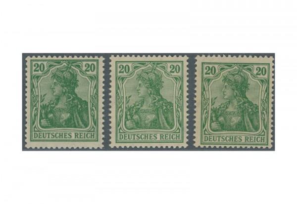 Briefmarken Deutsches Reich Germania VIII 1920 Michel-Nr. 143a,b,c postfrisch und geprüft