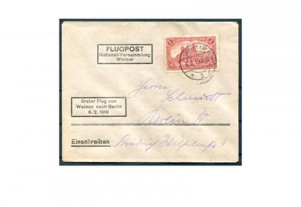 Deutsches Reich Mi.Nr. 94 AII auf Erstflugbrief 1919