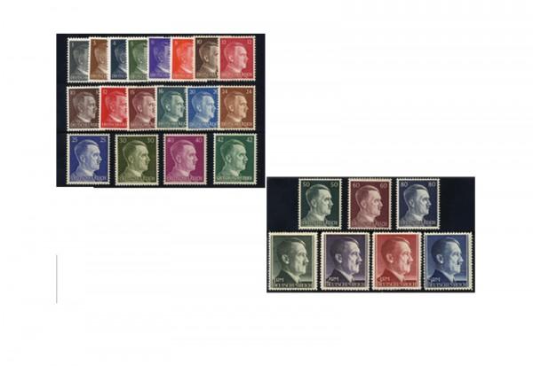 Briefmarken Deutsches Reich Freimarken Adolf Hitler 1941/44 Michel-Nr. 781/802 + 826/27 postfrisch