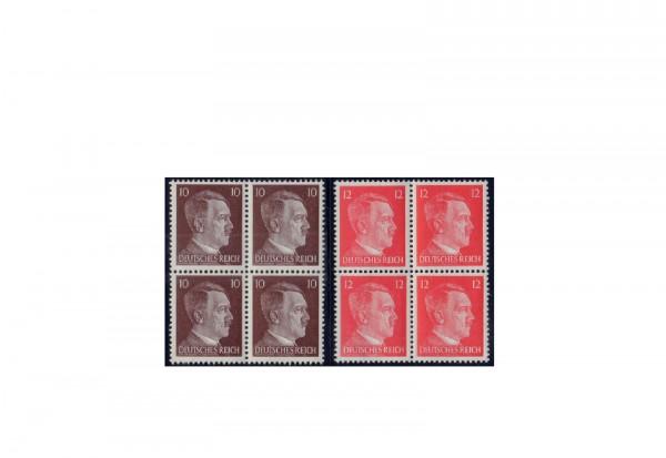 Briefmarken Deutsches Reich 1942 Hitler Freimarken Viererblock Michel-Nr. 826/827 postfrisch