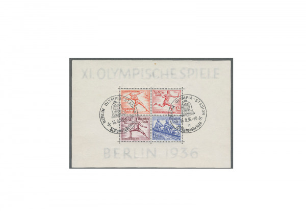 Briefmarken Deutsches Reich Olympia 1936 Block 6 gestempelt