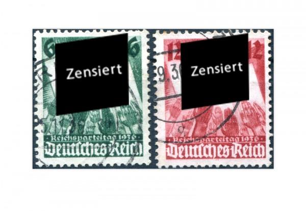 Briefmarken Deutsches Reich Reichsparteitag Nürnberg 1936 Michel-Nr. 632/33 gestempelt