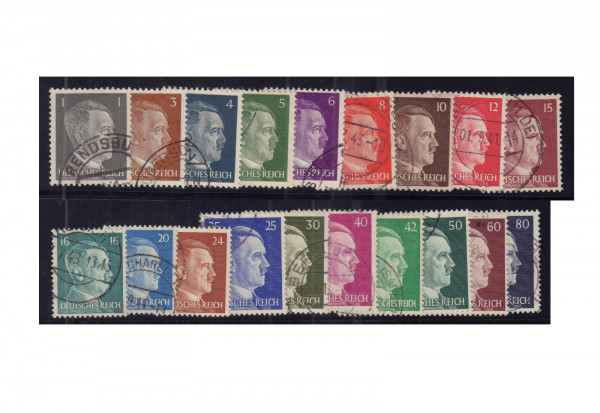 Briefmarken Deutsches Reich Freimarken Hitler 1941/42 Michel-Nr. 781-798 + 826/7 gestempelt