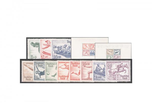 Deutsches Reich Michel-Nr. 600/602, 609/616 und Blocks 5/6 im Set Olympische Sommerspiele 1936