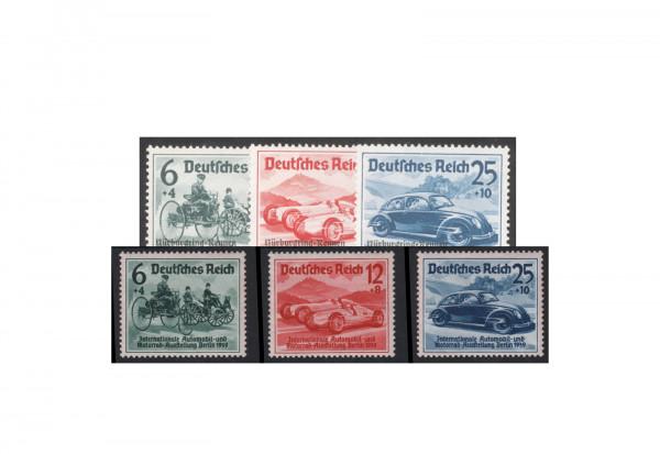 Briefmarken Deutsches Reich 1939 Nürburgrennen und Automobilausstellung Michel-Nr. 686-688, 695-697