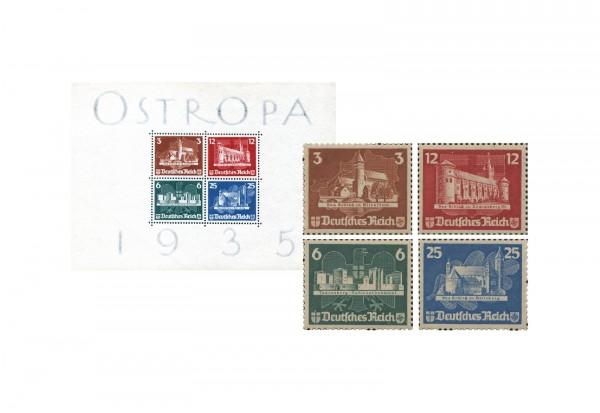 Deutsches Reich Block 3 + Einzelmarken Mi.Nr. 576/9 im Set mit Falz
