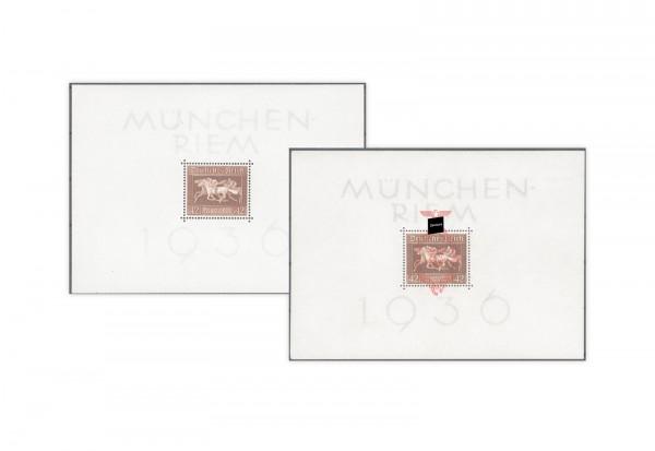 Briefmarken Deutsches Reich Braunes Band 1936 Block 4 + Block 10 Falz