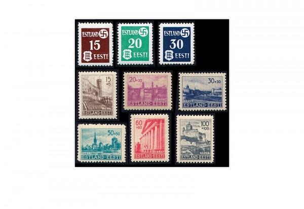 Briefmarke Deutsche Besetzung 2.WK Estland Freimarken Michel-Nr. 1-9 postfrisch