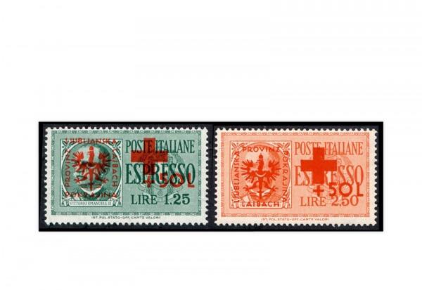 Deutsche Besetzung 2.WK Laibach Eilmarken 1944 Michel-Nr. 31-32 postfrisch
