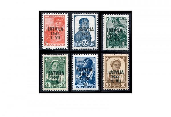 Briefmarken Deutsche Besetzung 2.WK Lettland Freimarken 1941 Michel-Nr. 1-6 postfrisch