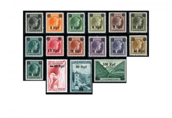 Briefmarken Deutsche Besetzung Luxemburg Michel-Nr. 17-32 postfrisch