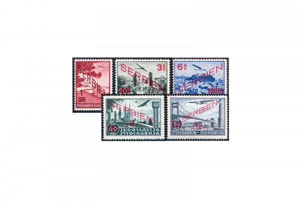 Briefmarken Deutsche Besetzung 2. WK Serbien 1941 Michel-Nr. 26 - 30 postfrisch