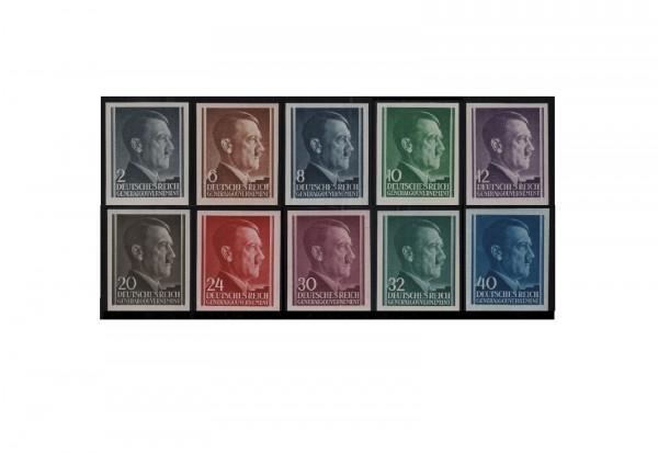 Generalgouvernement Mi.Nr. 71/82 U postfrisch ungezähnte Hitler-Marken