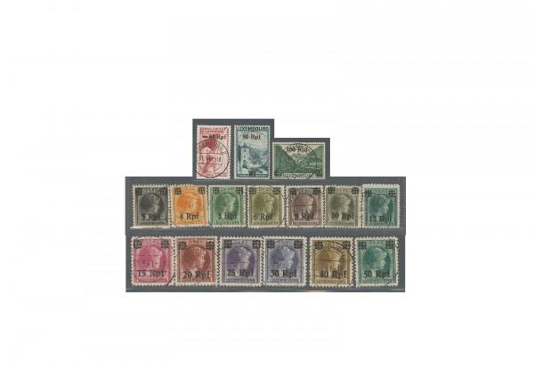 Deutsche Besetzung Luxemburg 1940 Michel Nr. 17 bis 32 gestempelt