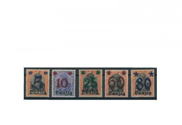 Briefmarken Deutsches Reich Danzig 1920 Michel-Nr. 16-20 postfrisch
