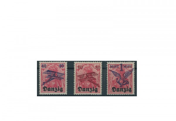 Briefmarke Deutsches Reich Freie Stadt Danzig Flugpostmarken 1920 Michel-Nr. 50/52 postfrisch