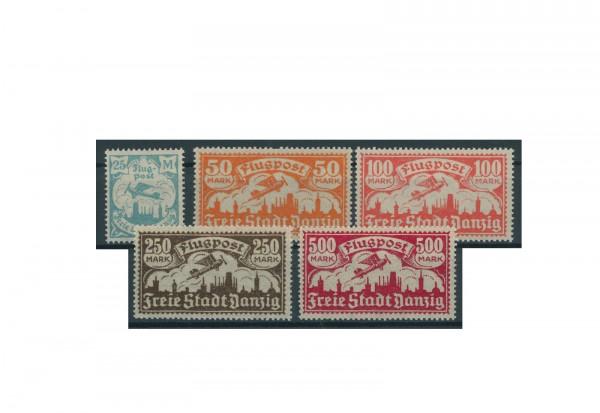 Briefmarke Deutsches Reich Freie Stadt Danzig Flugpostmarken 1923 Michel-Nr. 133/37 postfrisch