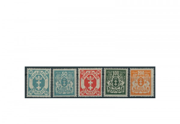 Briefmarke Deutsches Reich Freie Stadt Danzig 1923 Michel-Nr. 138/42 postfrisch