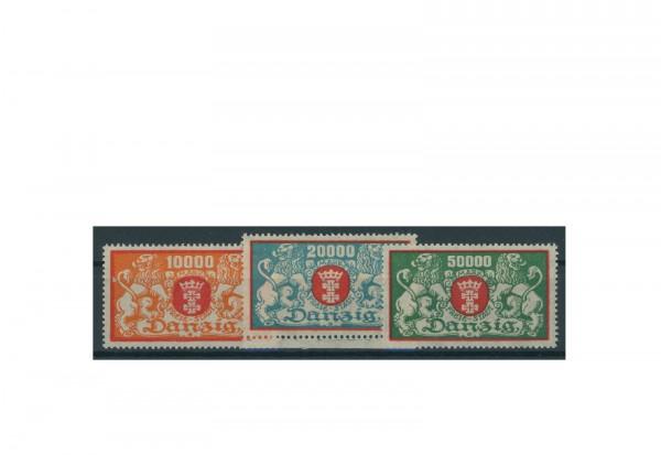 Briefmarke Deutsches Reich Freie Stadt Danzig 1923 Michel-Nr. 147/49 postfrisch