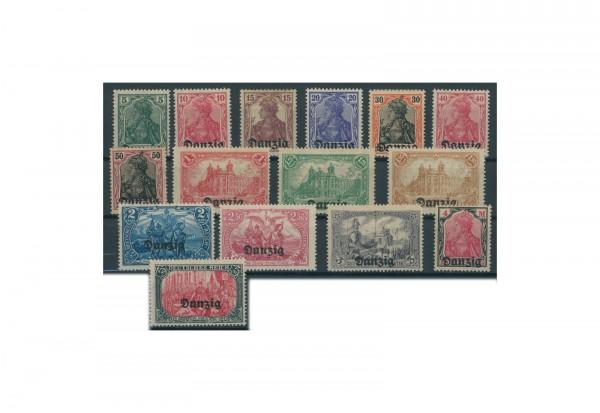 Briefmarken Deutsches Reich Danzig 1920 Michel-Nr. 1-15 mit Falz
