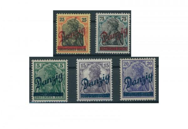 Briefmarken Deutsches Reich Danzig 1920 Michel-Nr. 21-25 mit Falz