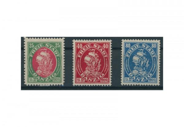 Briefmarken Deutsches Reich Proklamation des Staates Freie Staat Danzig 1921 Michel-Nr. 63-65 Falz
