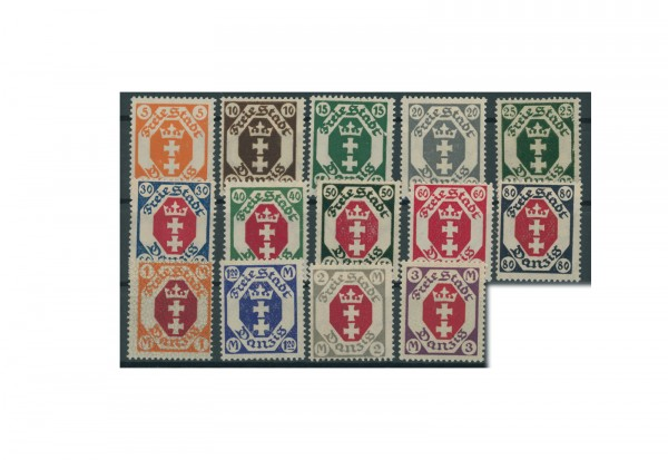 Briefmarken Deutsches Reich Danzig 1921 Michel-Nr. 73-86 mit Falz