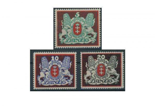 Briefmarken Deutsches Reich Danzig Proklamation 1921 Michel-Nr. 87-89 mit Falz