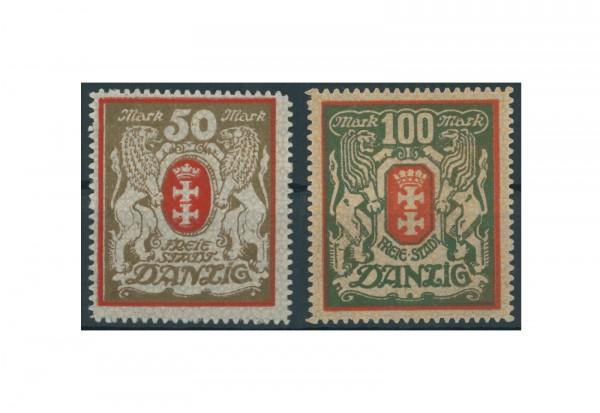 Briefmarken Deutsches Reich Danzig 1922 Michel-Nr. 100/101 mit Falz
