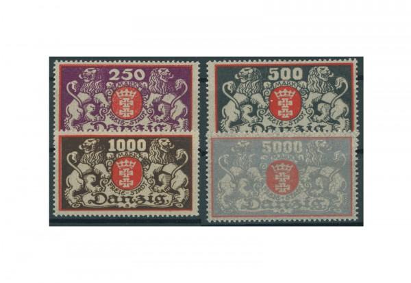 Briefmarken Deutsches Reich Freimarken Danzig 1922 Michel Nr. 119-122 Falz