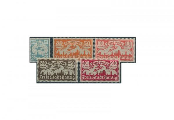 Briefmarken Deutsches Reich Flugpostmarken Danzig 1923 Michel Nr. 133-137 Falz