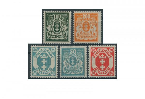 Briefmarken Deutsches Reich Freimarken Danzig 1923 Michel Nr. 138 -142 Falz
