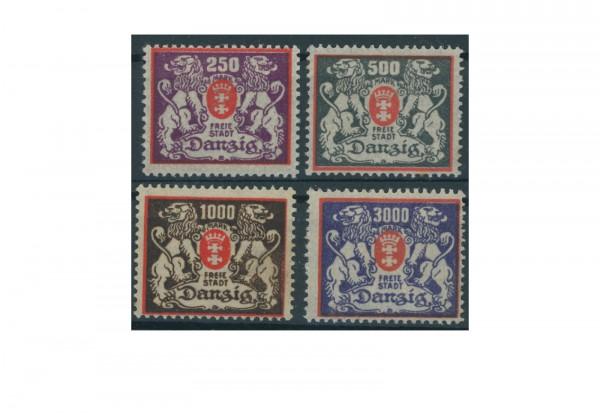 Briefmarken Deutsches Reich Freimarken Danzig 1923 Michel Nr. 143-146 Falz