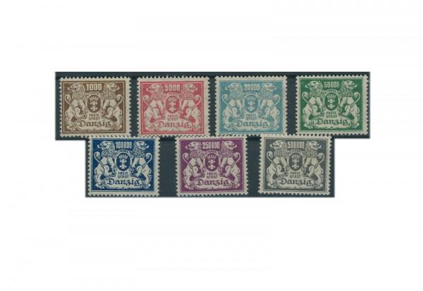 Briefmarken Deutsches Reich Freimarken Danzig 1923 Michel Nr. 151-157 Falz