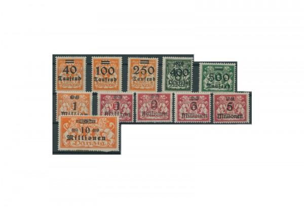Briefmarken Deutsches Reich Freie Stadt Danzig 1920-1939 Michel-Nr. 158-168 Falz