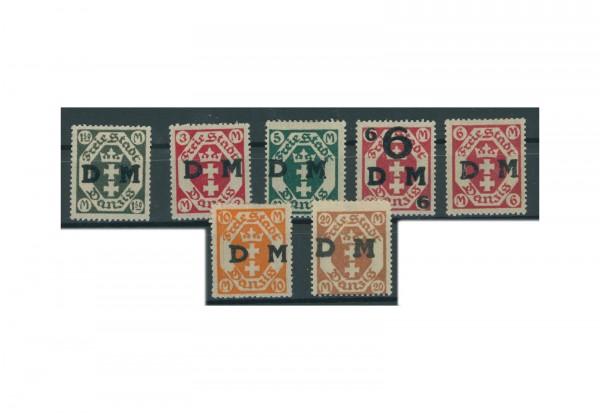 Briefmarken Deutsches Reich Freie Stadt Danzig Dienstmarke 1922 Michel-Nr. 22/28 Falz