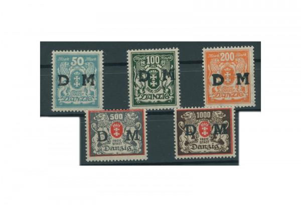 Briefmarken Deutsches Reich Dienstmarken Danzig 1923 Michel Nr. D 36-40 Falz