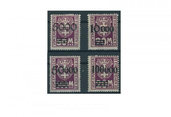 Briefmarken Deutsches Reich Freie Stadt Danzig 1921-1938 Michel-Nr. P 26-29 Falz