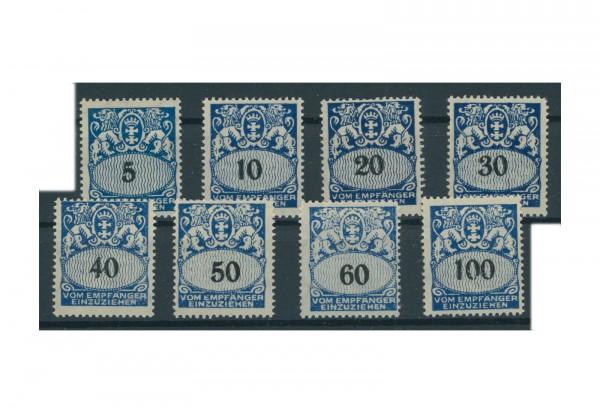 Briefmrken Deutsches Reich Portomarken Danzig 1923 Michel Nr. P 30-37 Falz