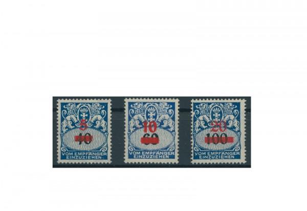 Briefmarken Deutsches Reich Portomarken Danzig 1932 Michel Nr. P 40-42 Falz